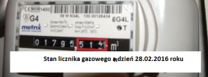 Licznik gazowy 28.02.2016r..
